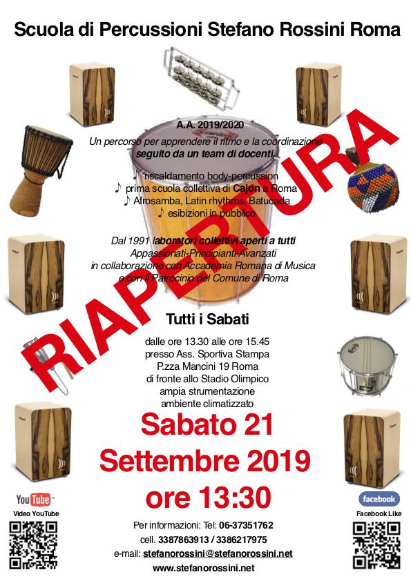 Riapertura Scuola di Percussioni Stefano Rossini Roma