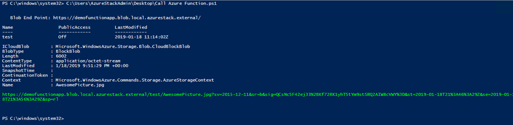 Azure Stack – Use Function To Generate SAS Token For Blob Content