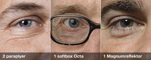 Jämförelse på hur reflektioner i ögon ser ut med olika ljusmodifierare