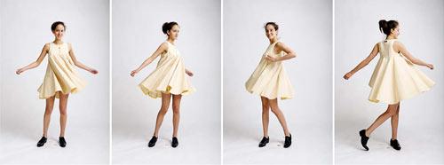 Bildserie med dansande fotomodell från produktfotografering av kläder