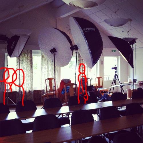 Två ljussättningar i en, bakom kulisserna från gruppfoto och porträttfotografering med samma inställningar. Fotograf Stefan Tell