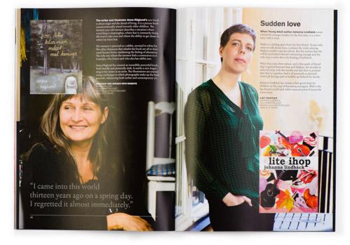 Trycksak från Kulturrådet, Swedish books for young readers. Uppslag med Anna Höglund och Johanna Lindbäck. Fotograf Stefan Tell