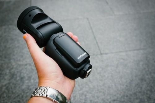 Profoto-A1-kamerablixt-Air-framsida-batteri-hotshoe