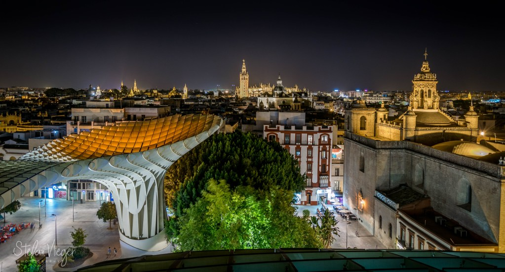The beautiful city of Sevilla (Spain) on a hot summer night.