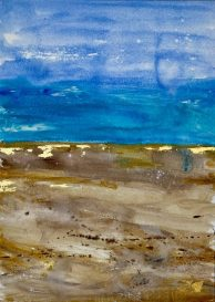 Golden Sands - original available Mixed Media with gold leaf on Fabriano paper 70 x 100 cms with white frame £750 plus shipping