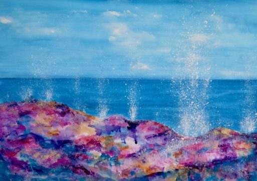 Marbella Beach 'Splash!' Series - Mixed Media on Paper