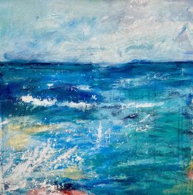 Campari Soda Seas - original Mixed Media on canvas 65 x 65 cms unframed