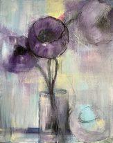 Four Anemones Media on canvas 40 x 50 cms