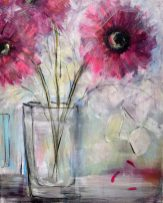 'The sound of petals falling' Mixed Media on canvas 40 x 50 cms