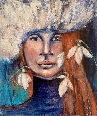 WINTER - THE GIRL WITH SNOWDROPS - original available