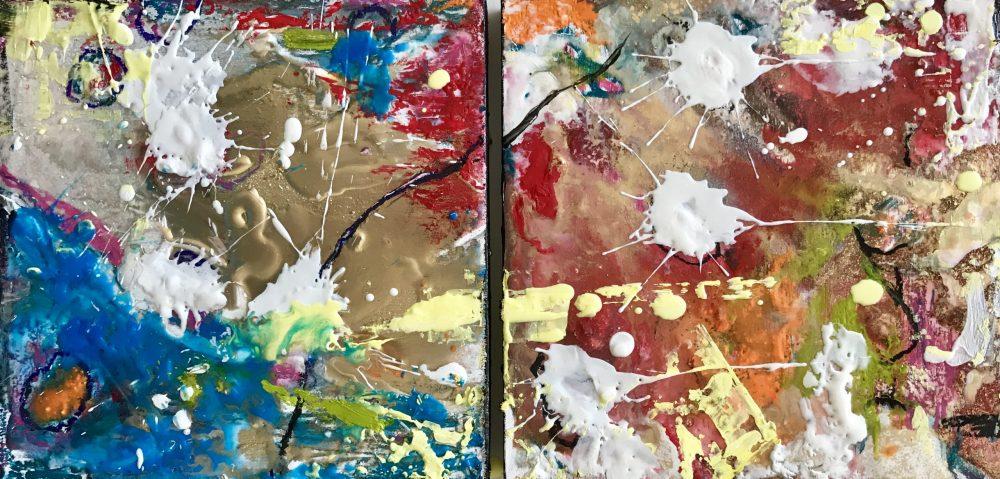 Abstract encaustic artwork detail