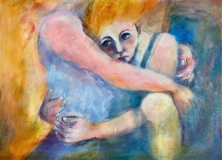 This sensitive image of two women hugging is full of tenderness and care. Painted during Covid, the narrative suggests how many of us may be feeling at the moment during uncertain times and sometimes we all need a hug. Women supporting women during difficult times. The power of the hug should never be underestimated.