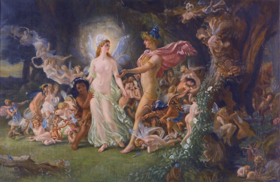 The quarrel of Oberon and Titania *oil on canvas *45.5 x 70 cm *signed b.r. monogram and dated 1880
