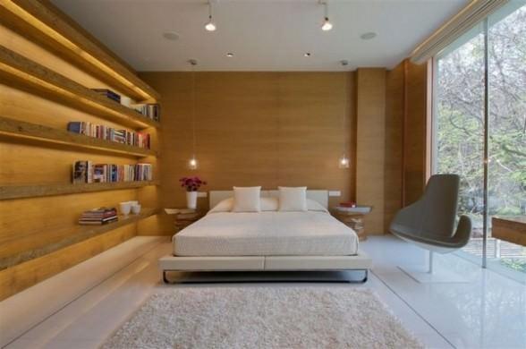 Design simplu pentru perete de dormitor imitatii de lemn