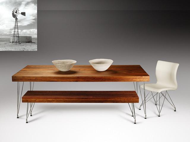 Masa cu banca din lemn masiv cu picioare metalice