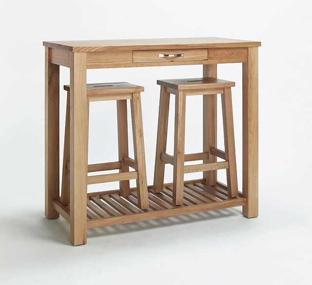 Masa de mic dejun din stejar cu scaunele - masuta plianta