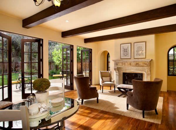 grinzi de lemn in decor modern