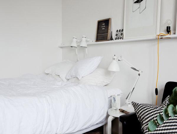 dormitor scandinav in alb si negru