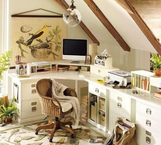 birouri in culori si materiale naturale