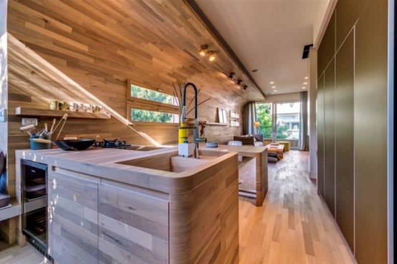 chiuveta din lemn masiv - apartament modern