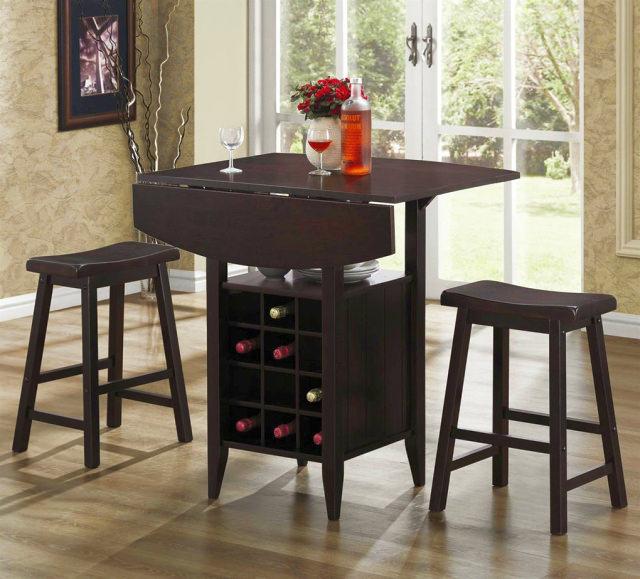 masa de bar cu scaune - mesele de bar cu raft de vin