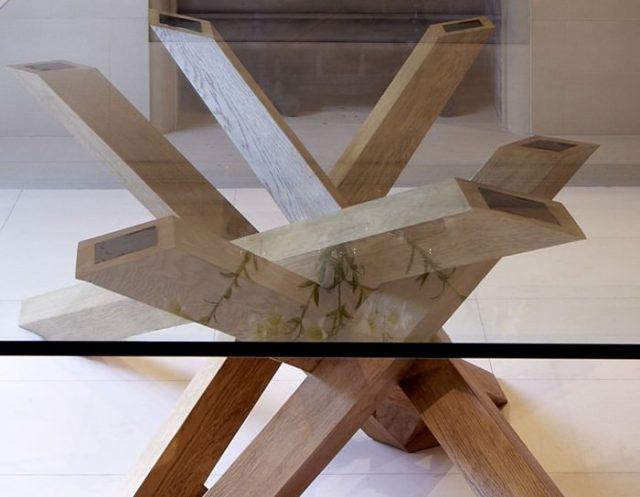 masa din stejar și sticlă