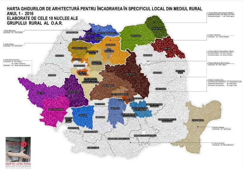 Harta Romaniei cu Ghiduri de arhitectura OAR