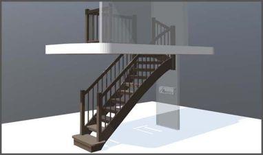 Simulare 3D - scara interioara din lemn