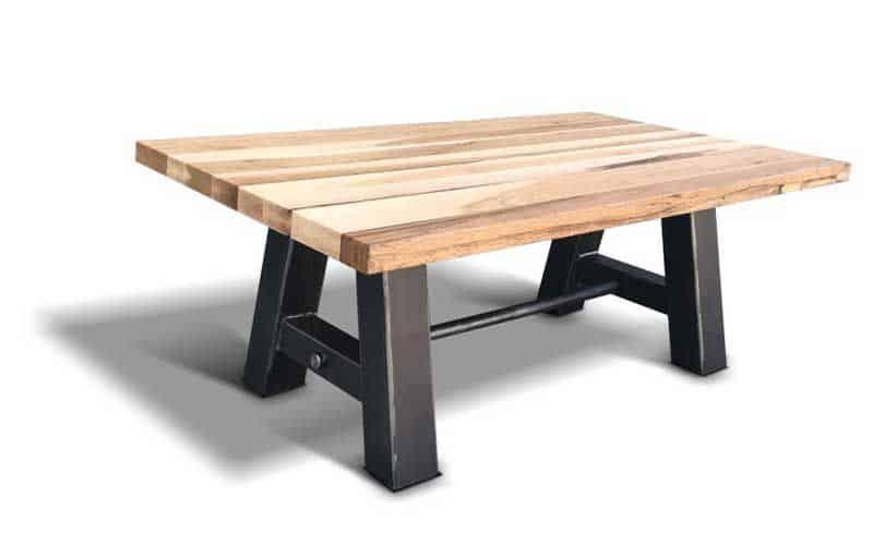 varianta de cafea cu h=87 cm, picioare metalice si blat din lemn masiv de stejar