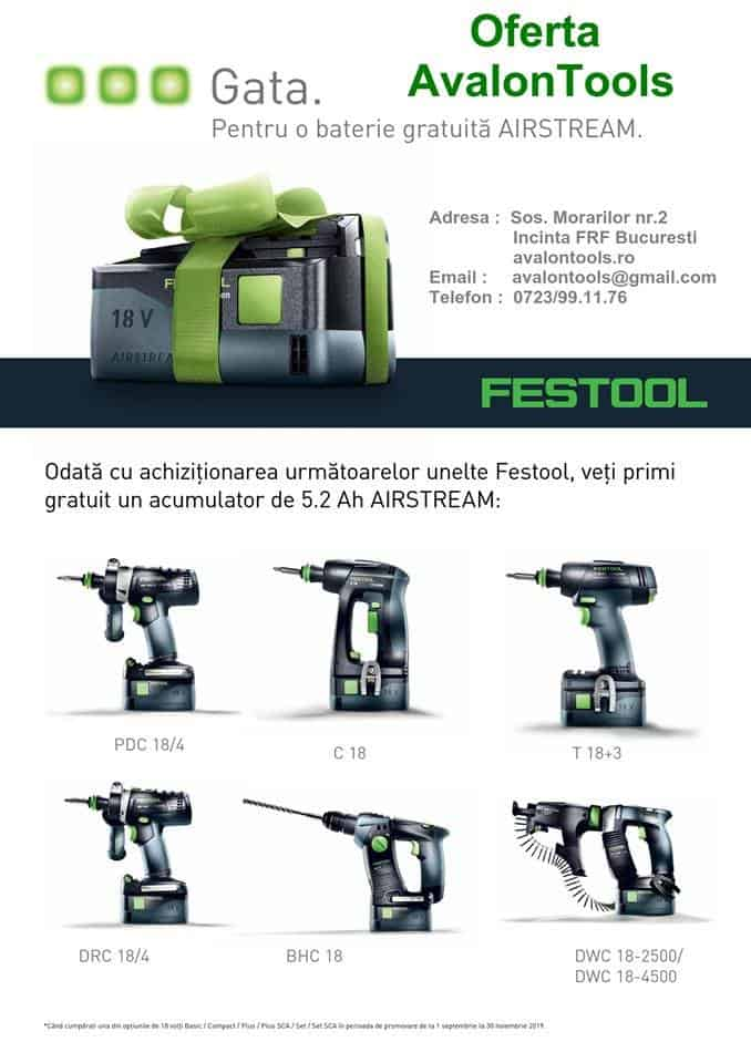gama de scule Festool cu acumulator din promoție