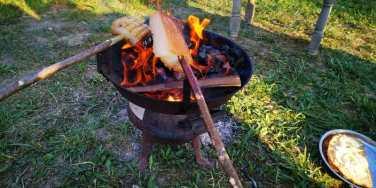 slanina fripta la foc de lemne