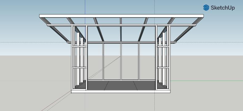 magazie din lemn - proiect SketchUp
