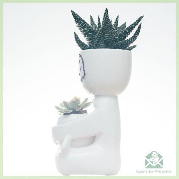Happy-man plantenpot bloempot sierpot 6 cm en 3 cm