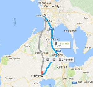 Tagaytay map from manila or qc