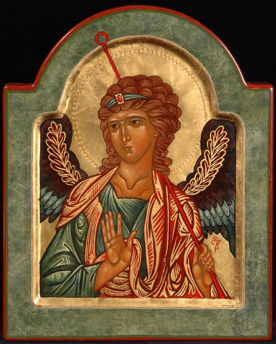 Icon of Archangel Raphael, 2015, by the hand of Faye Drobnic