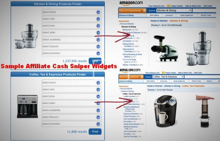 reviews affiliate cash snipers-sample widgets amazon