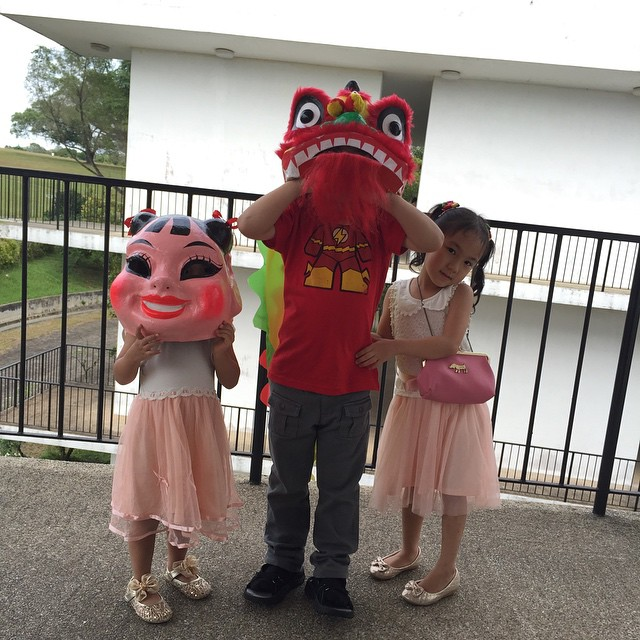 Meet the kiddie lion dance troupe: Milly the Big Head Doll, Ayden the Lion Head and Ally the Lion Tail. Taking bookings now. (We accept cash, all good credit cards and Toys R Us vouchers.) #childlabour #cny2015 #liondance