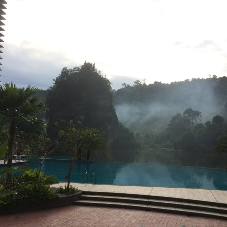 This is the view I see every morning from Cuisines, the hotel café. That dreamy mist cloaking the limestone hills and RockHaven! So, so pretty.