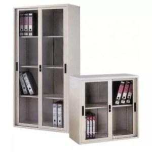 Full & Half Height Cupboard with Glass Sliding Door Steel Cabinet