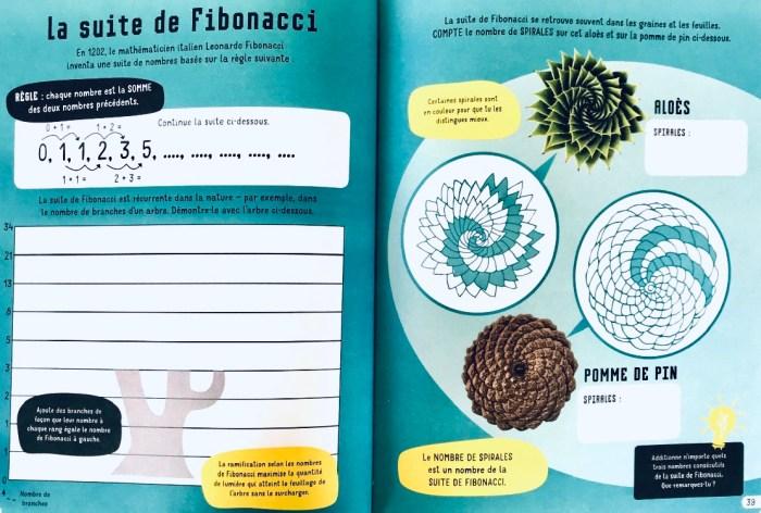 La suite de Fibonacci, Cahier d'activités des petits matheux, Éditions Usborne