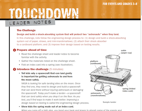 Touchdown STEM lesson (click to download the PDFs)