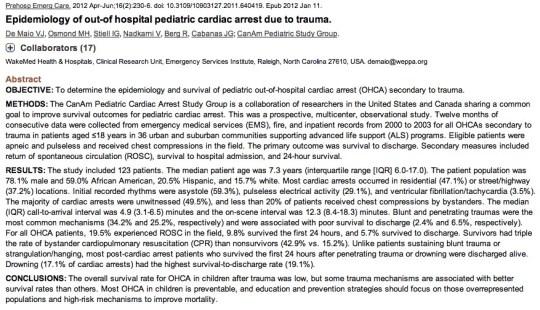 ped arrest outcomes in trauma