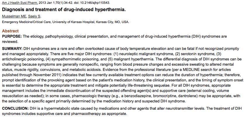 JC: Recreational drug induced hyperthermia  St Emlyn's • St