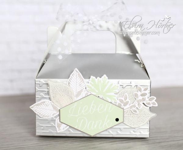 Silberne Minisschachtel mit Blättern-Kraft der Natur-Stampin Up-Verpackung-Goodie-Stempelzimmer