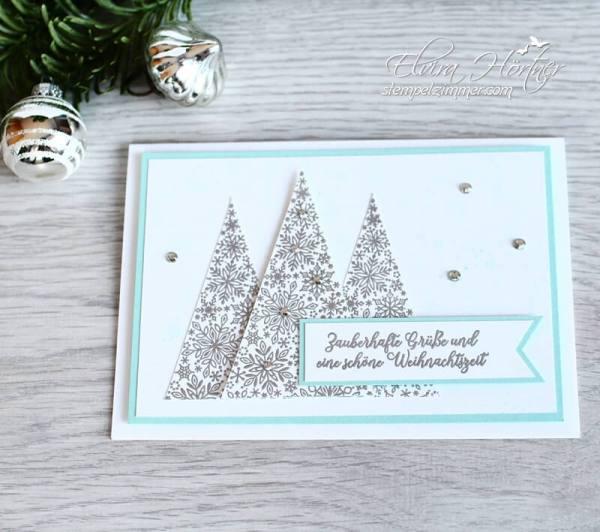 Baeumchen aus dem Wintermaerchen-Weihnachtskarte-Stampin Up-Stempelzimmer
