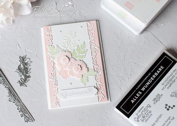 Alles Wunderbare in Pastellfarben-Puderrosa und Lindgruen-Stampin Up-Glueckwunschkarte