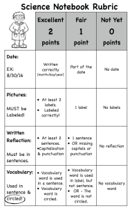 1st grade primary interacrive science notebook grading rubric