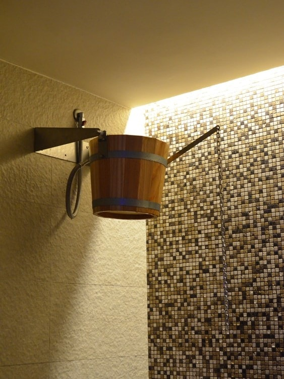 Rustic Shower With Wooden Bucket For Sauna Stenal Production