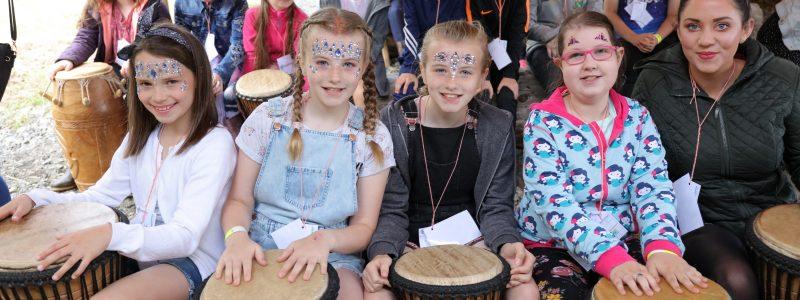 ArtAbyss Festival Drumming Workshop for KS2 Primary School Pupils. Limavady, Northern Ireland.
