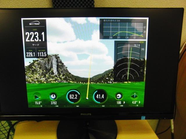 弾道測定機器SkyTrakのモニター画面